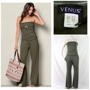 VENUS Women's Strapless Olive Jumpsuit Size: Small